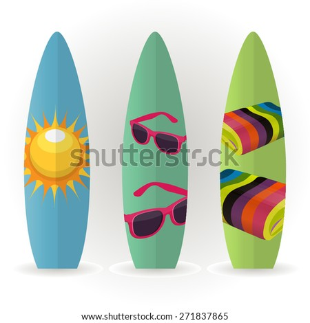 Surfboard. Vector Set - stock vector