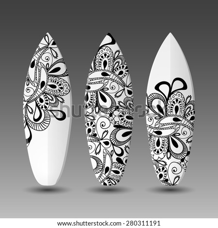 Surfboards Design Template with Abstract Ornamental Pattern - stock vector