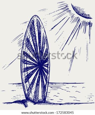 Surfboards on a beach. Doodle style - stock vector