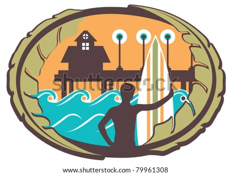 Surfer Emblem with Pier, Waves and Palm Leaves - stock vector