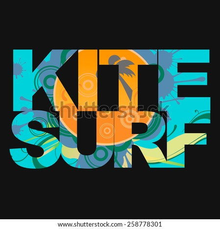 Surfer free ride  typography, kite surf t-shirt graphics, vectors - stock vector