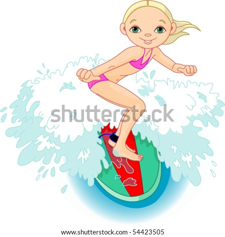 Surfer girl getting some height of a wave - stock vector