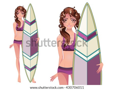 Surfer girl with her board illustration on white background. - stock vector