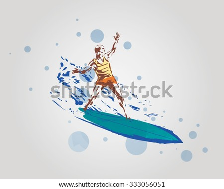 Surfer in Action - stock vector