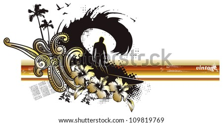 surfer in tube with beauty colors - stock vector