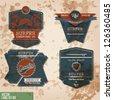 surfer label set.surf vintage label set - stock