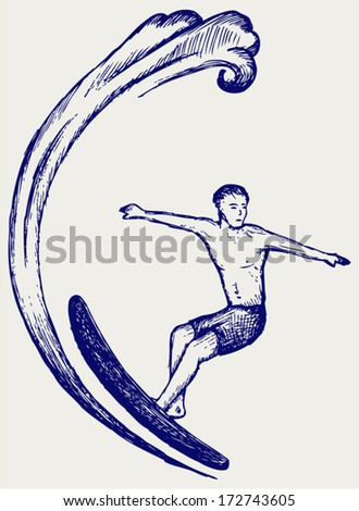 Surfer on Ocean Wave. Doodle style - stock vector