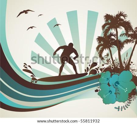 surfer on the sea, vector illustration - stock vector