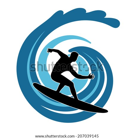 surfer on waves an illustration on a white background - stock vector