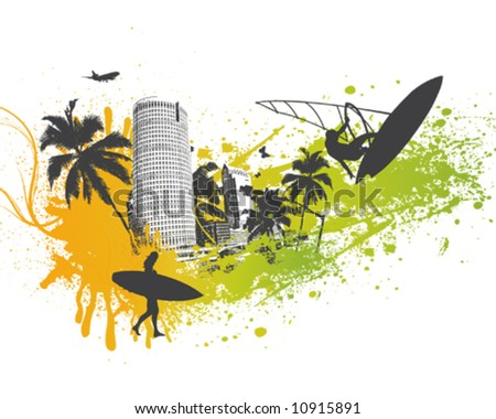 Surfer Palm City - stock vector