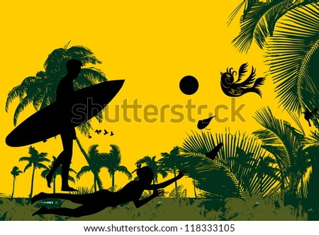 surfer paradise palm beach - stock vector