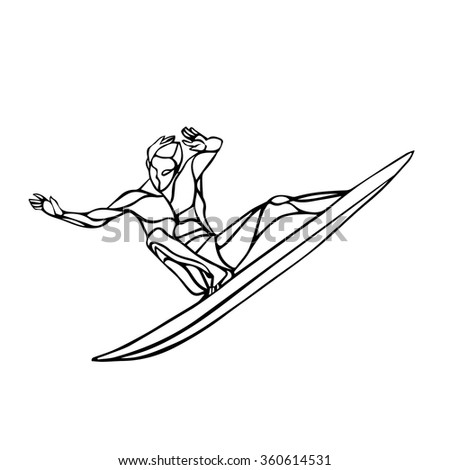 Surfer rides on a wave. Surf logo or emblem design. Isolated on white background - stock vector