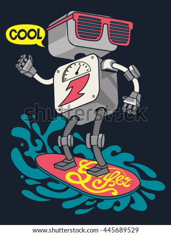 surfer robot vector design for tee - stock vector