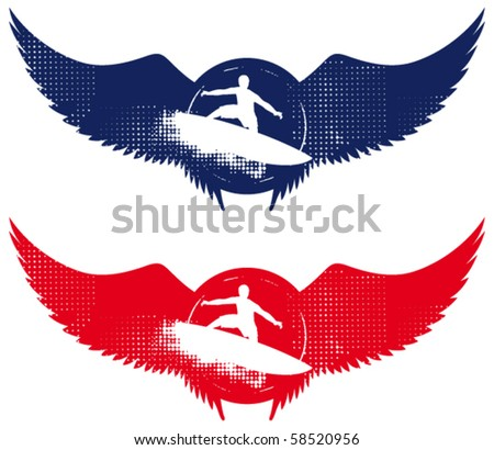 surfer shield with grunge table wings - stock vector