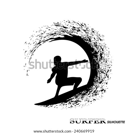 surfer silhouette - stock vector