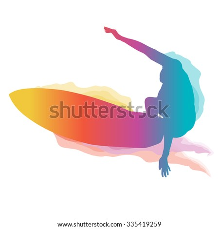 Surfer silhouette riding a big wave with colourful grandient. - stock vector