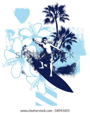 surfer summer blue scene - stock vector