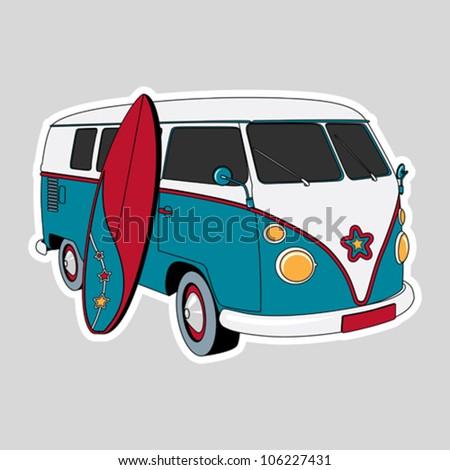 Surfer Van Illustration - stock vector