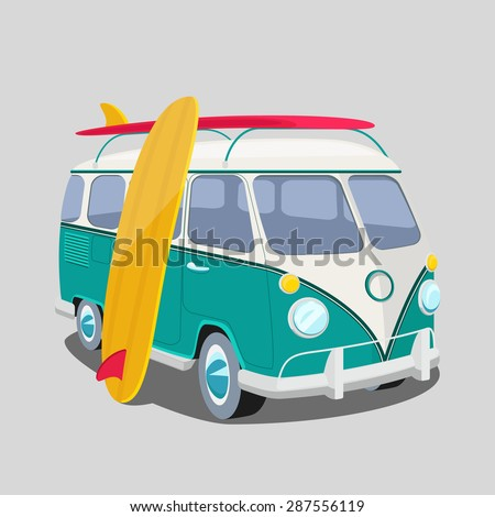 Surfer van poster or t-shirt graphics. Transportation and surfing, sport board, vector illustration - stock vector