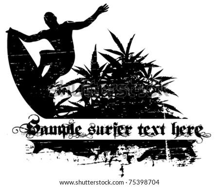 surfer vector background - stock vector