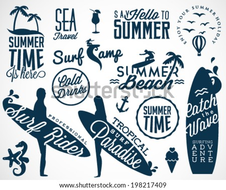 Surfer Vector Elements in Vintage Style - stock vector