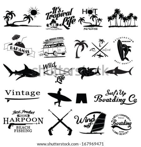 surfer vector set. - stock vector