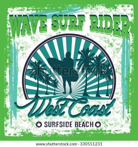 surfer vector set.vintage surf elements.vector retro surf label set.Long beach surf story vector element. surf riders. vector surf print surf world cup.surf car retro vector print. - stock vector
