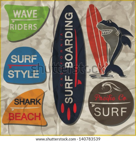 surfer vector set.vintage surf elements.vector retro surf label set.Shark cartoon hero. - stock vector