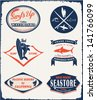 surfer vector set.vintage surf elements.vector retro surf label set.surfer vector set.vintage surf elements.vector retro surf label set.fishing set.sea store vector elements. - stock photo