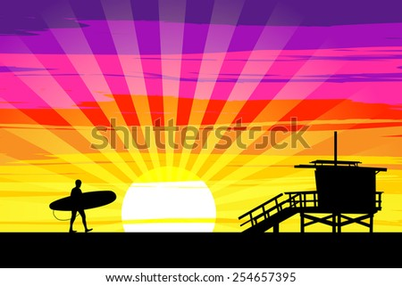 Surfer Walking into the Sunset on Venice Beach, Los Angeles, California. EPS10 Vector - stock vector
