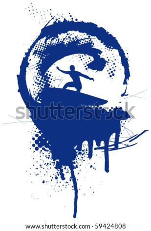 surfer wave grunge dirty circle - stock vector