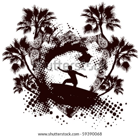 surfer with shield grunge palm brown background - stock vector