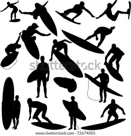 surfers collection 1 - vector - stock vector