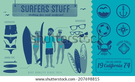 Surfers stuff - vintage labels, symbols & illustration - stock vector