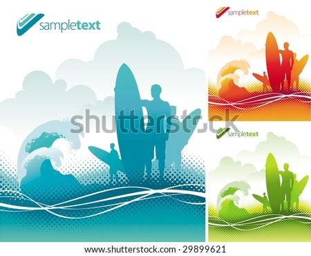 Surfers team - stock vector
