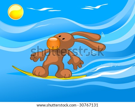 surfing - stock vector