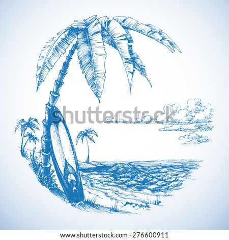 Surfing background, palm trees and sea view - stock vector