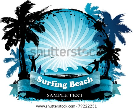 Surfing beach background - stock vector