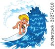 Surfing boy with wave. Funny cartoon and vector character - stock vector