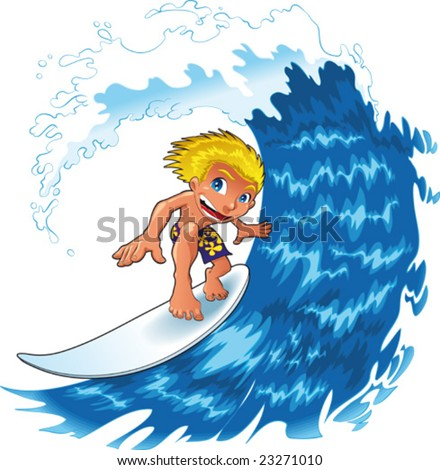Surfing boy with wave. Funny cartoon and vector character
