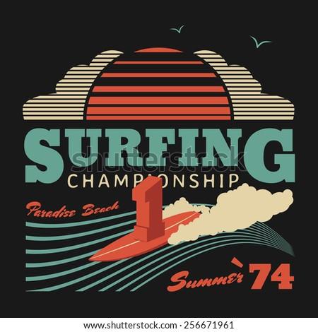 Surfing championship vector illustration, graphics for T-shirts, California surf summer poster - stock vector