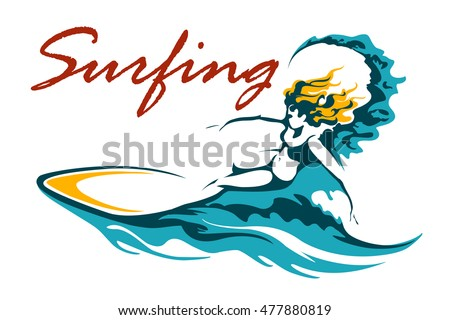 Surfing Club or Camp label with female surfer on long board riding a wave. Vector illustration.