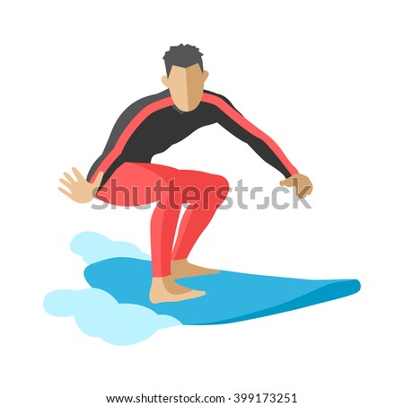 Surfing getting and summer surfing. Men on surfboard getting surfing. Extreme hobby watersports adventure active. Surfer blue ocean wave getting barreled surfing water extreme sport character vector. - stock vector