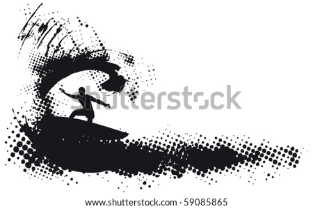 surfing grunge wave - stock vector