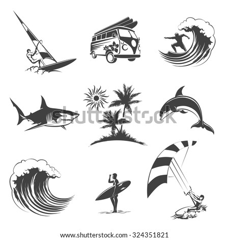 Surfing icons set. Sport surf sea, beach and travel, surfer sign, vector illustration - stock vector