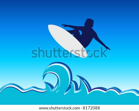 Surfing man jump, abstract vector illustration