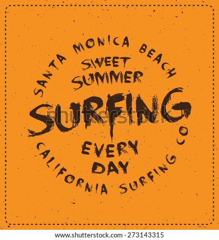 Surfing - Typographic Design - Classic look ideal for screen print shirt design - stock vector