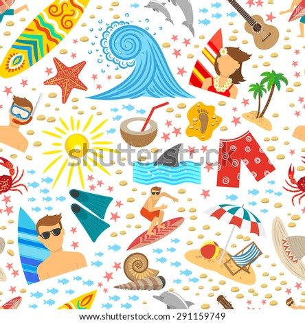 Surfing vacation and tropical beach symbols seamless pattern vector illustration