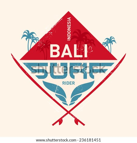 Surfing vintage label with waves, palm and surfboards. Surf Vector illustration. - stock vector