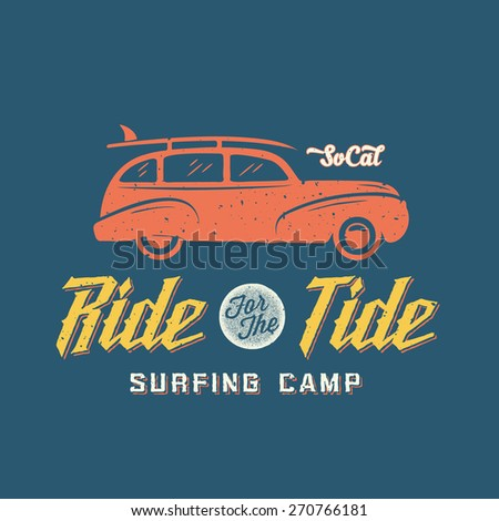 Surfing Woodie Car Retro Style Label or Logo Template with Shabby Textures. Good for Posters, T-shirt Prints etc.